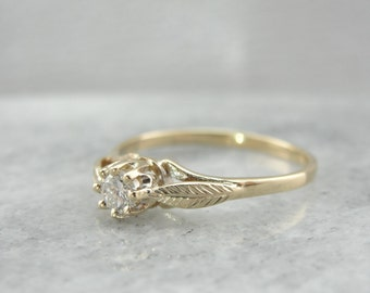Leafy, Arboreal Details, Diamond,  Solitaire Engagement Ring 8TN8J8-N