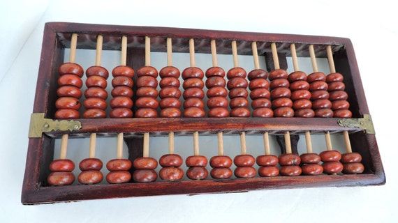 Wood abacus with orange beads vintage chinese calculator