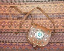 sold xxreservedxx littleHippie embelished Folk Festival Satchel Purse Hand Bag leather coin Bag s  moroccan 70s 60s  ethnic woodstock