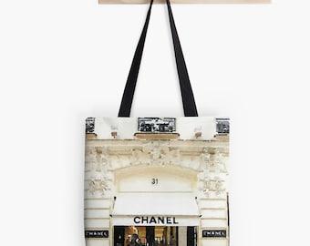 Coco Chanel Paris Store Custom Designer Tote Bag, Purse, Chanel Bag, Market Bag, Fashion Blog, Tote Bag, Black Ivory Gold, Custom Tote Bag