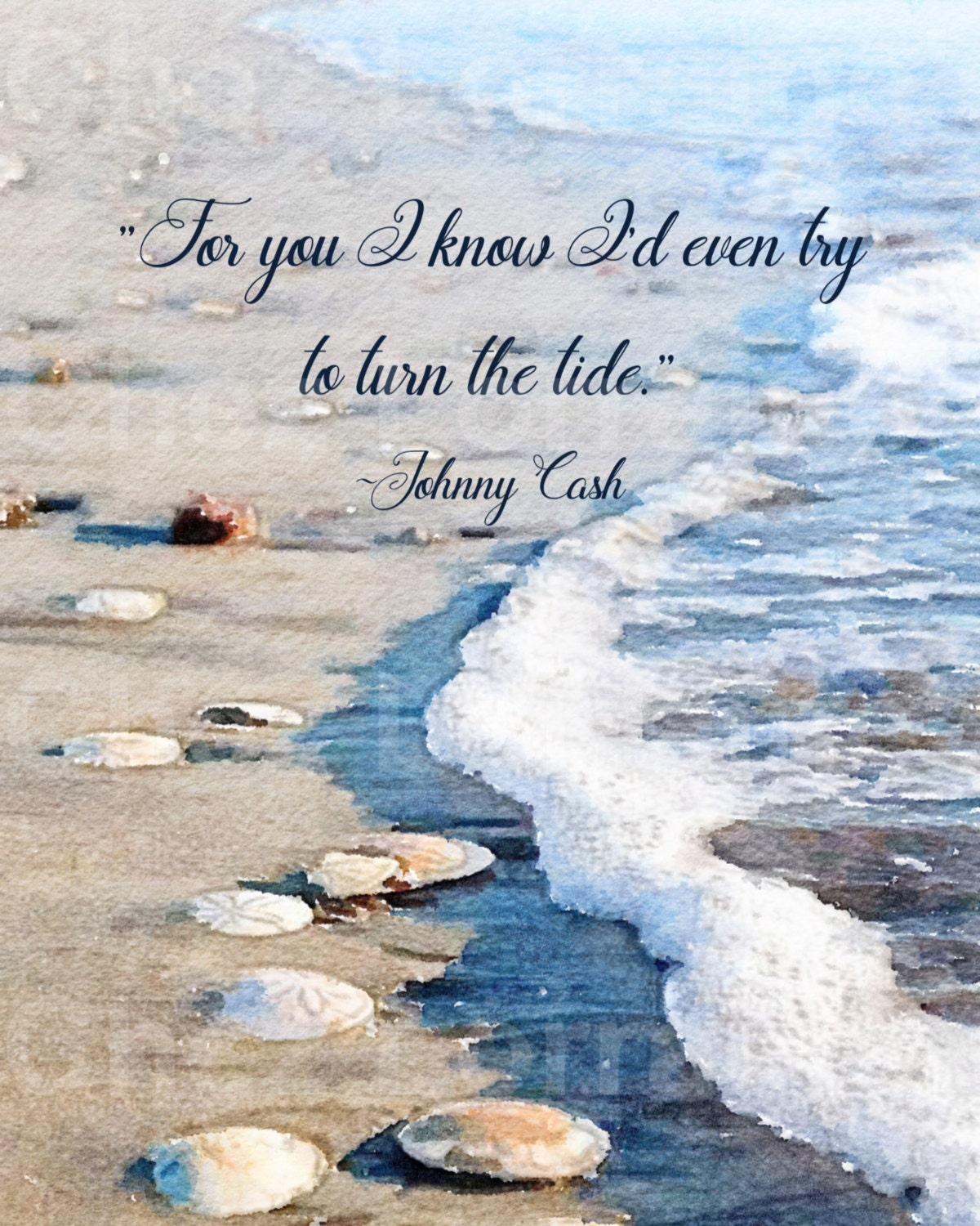 Turn The Tide: An Ocean Quote Watercolor Fine Art Print