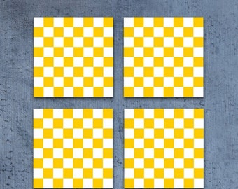Yellow and white checkered coasters, Set of square retro drink coasters, Holiday gift, Hostess gift, CR083