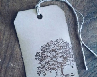Summer Shade, hand stamped oak tree gift tags, set of 12