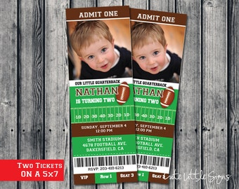 Football Ticket Birthday Invitation Digital Download
