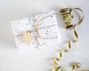 GOLDEN CONSTELLATIONS WRAPPING Paper. Gold Metallic Star White Gift Wrap Set Tags Unique Holiday Giftwrap Christmas Stars Astronomy