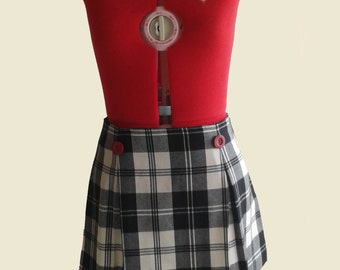 Wool Plaid Skirt, Black&White