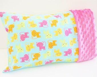Toddler or Travel Size Kids Pillowcase - Pink, Orange, and Green Kittens on Aqua Fabric - Pink Minky Pillowcase - Toddler Girl Bedding - Cat