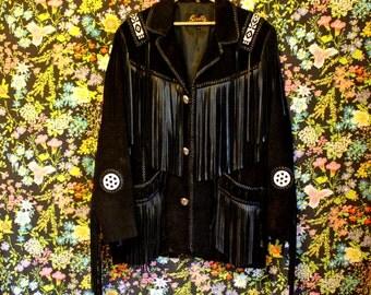 Vintage 70s Black Suede Leather Jacket Fringe* Scully Brand * Beaded * Western * XL