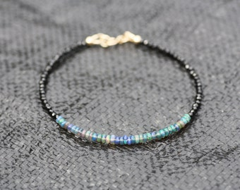 Natural Black Spinel and Black Opal Bracelet in Solid 14K Yellow Gold , 14th 22nd Anniversary , May October Birthstones , Wedding , Bridal