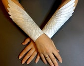 Angel wings - Pair of hand tooled leather winged bracers - White leather winged cuffs with silver shading