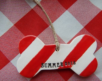 Personalized Dog Christmas Ornament, Candy Striped Ceramic Ornament