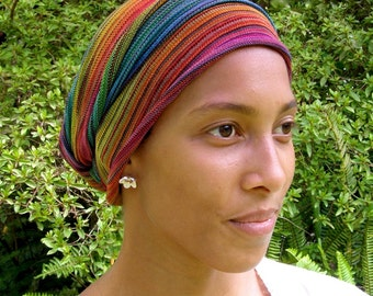 Tribal Rainbow Cover All Head wrap -Turban Wrap - Cotton - Chemo Hair Scarf - Chemo Headwear -Chemo Hat