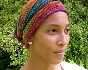Tribal Rainbow Cover All Head wrap -Turban Wrap - Cotton - Chemo Hair Scarf - Chemo Headwear -Chemo Hat