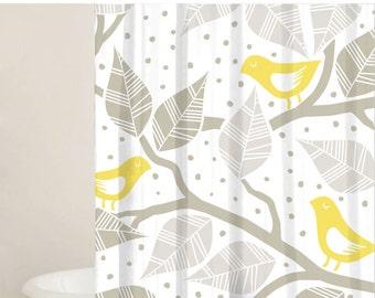 Grey and White Shower Curtain Set - Custom Shower Curtains - Gift Ideas - Bathtub Curtain - Bathroom Decor - Extra Long Curtains