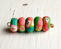 Van Gogh's Oleander Disc Beads (5) (Humblebeads) - artisan handmade polymer disc beads in peach, chartreuse and teal - art beads uk