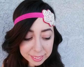 Jewel Headband Hot Pink