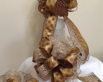Small Tree Topper Bow - Copper Plaid and Gold Mesh Bow - Gift Bow -  Gift Topper - Christmas Bow - Holiday Gift Bow
