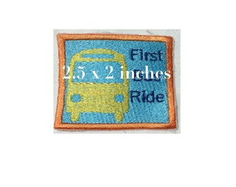 embroidery design bus ride sew on patch 2.5 x 2.5 inches