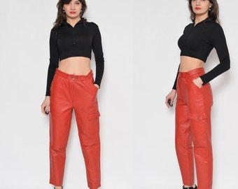 Vintage 80's Red Leather Pants With Pockets / High Waisted Red Leather Pants/ Tapered Leg Red Leather Pants / Genuine Leather Pants
