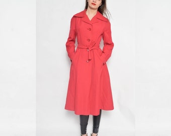 Vintage 70's Red Button Coat / Belted Red Coat - Size Small
