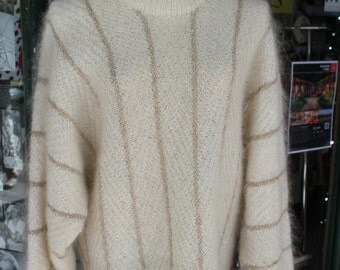 1970s Vintage Cream Mohair Pullover with Gold Detail