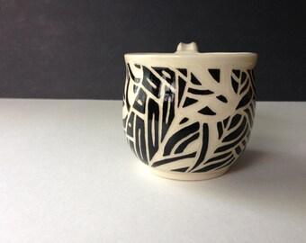 Black and White Sgraffito Mug - 8 ounces