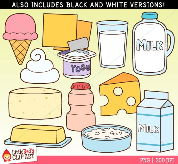 Dairy Foods Clip Art and Lineart personal and commercial use