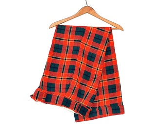 Vintage Plaid Pants - 60s Wide Leg Tartan Trousers - Womens High Waist Flat Front Extra Wide Leg Plaid Pants