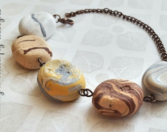 Stone Bracelet, Beach Pebble Bracelet, Stone Linked Seaside Bracelet