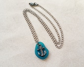 Nautical Anchor Necklace, Rockabilly Sailing Jewelry, Cultured Teal Sea Glass Necklace