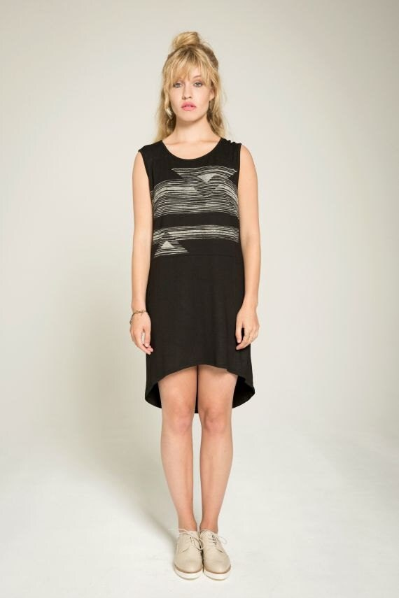 JUST FRIEND - high-low oversize minimalist tunic for women - black with striped and triangles silkscreen