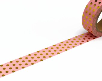 Pink Washi Tape with Gold Foil Polka Dot - Spotty Masking Tape
