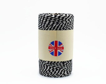 Black Baker's Twine 100m - Black and White Twine - Black Butcher's Twine - Everlasto Twine Made in England - Black Twine - Gift Wrapping