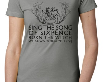 "Ladies' Radiohead inspired T shirt, ""Burn the witch"""