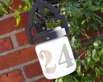 one of a kind personalized address sign / house number- solar powered light