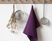 Deep Purple Stone Washed Linen Tea Towel