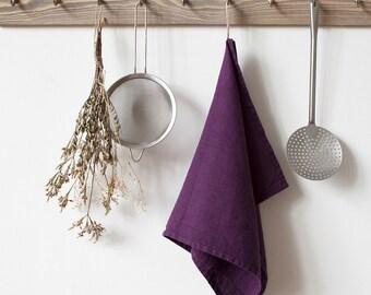 Deep Purple Stone Washed Linen Tea Towel