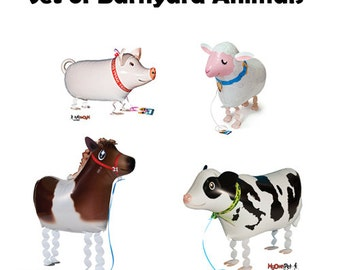 4 Farm Animals My Own Pet foil balloon farm party decoration