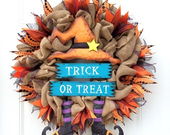 Halloween Wreath Witch Wreath Halloween Burlap Wreath Witch Hat Witch Boots Trick Or Treat Wreath Large Halloween Wreath Witch Boots Wreath