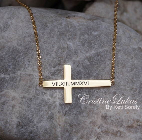 Custom Engraved Roman Numerals Necklace Cross Necklace In