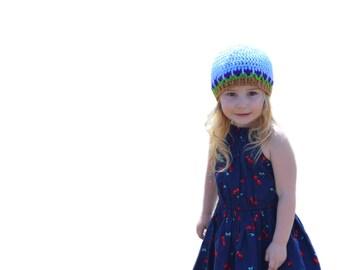 Girls Blue Sky Tulip Hat Toddler Beanie Flower Cap Newborn to Adult Crochet Hat Girls Blue Beanie Newborn Hospital Spring Flower Photo Prop