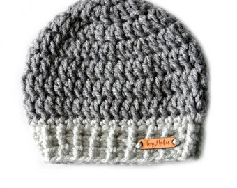 Two Tone Grey Beanie, Dual Color Hat, Knit Beanie, Crochet hat, Mens, Womens, Kids, Infant, Baby Hat, Toddler Hat, Gray Hat, Unisex Beanie