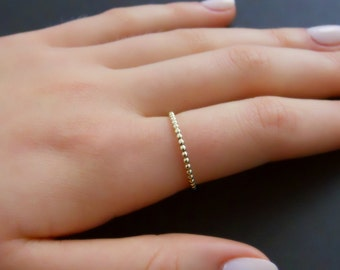 Thin Beaded Gold Filled Ring, Skinny Beaded Gold Ring, Minimal Beaded Gold Ring, Stacking Ring, Midi Gold Filled Ring