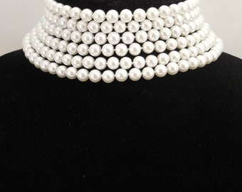 Wedding Bridal, Unique Style 6 Strand, 8mm White Glass Pearls Choker