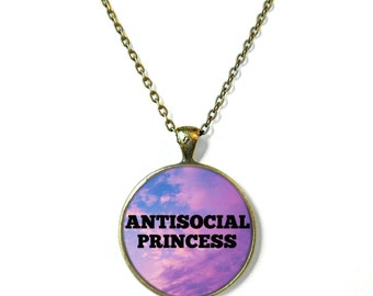 Galaxy Antisocial Princess Necklace, Feminist Soft Grunge Nu Pastel Goth C*nt Jewelry Rude Mean Insult Girl Power Jewelry