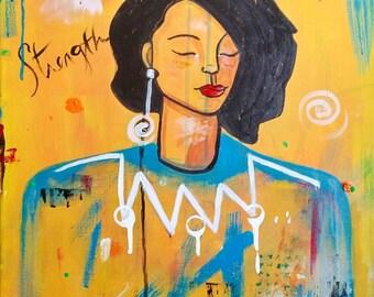 cole-gates ORIGINAL Unique 16x20 AFRICAN AMERICAN abStract portrait Canvas ArT