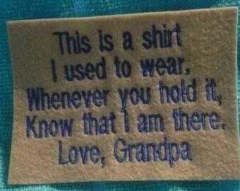Memory Pillow Shirt Patch Love, Grandpa