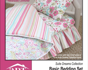 Pixie Faire AptOne8 Suite Dreams Collection: Basic Bedding Set PVC Pattern for 18 inch American Girl Dolls - PDF