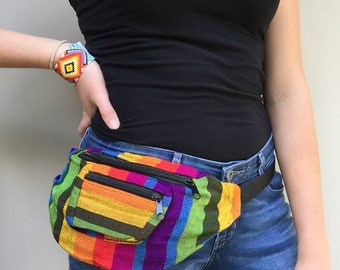 Rainbow Striped Fanny Pack - Hip Pack Handmade in Guatemala (002F)