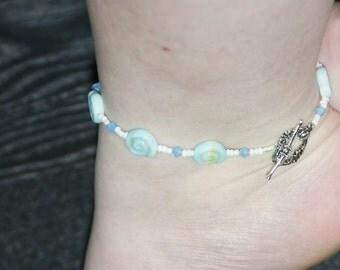 Boho anklet with blue Swarovski beads